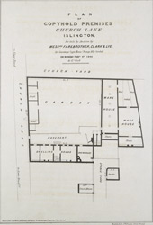 PLAN OF COPYHOLD PREMISES, CHURCH LANE, ISLINGTON